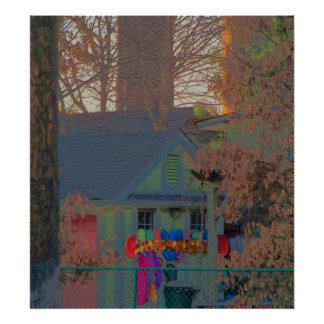 house with trees and color poster