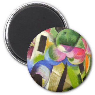 House with Trees by Franz Marc, Vintage Fine Art 2 Inch Round Magnet