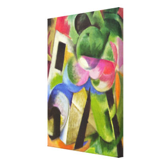House with Trees by Franz Marc, Vintage Fine Art Canvas Print