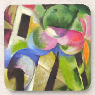 House with Trees by Franz Marc, Vintage Fine Art Coaster