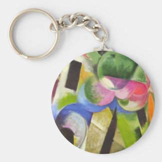 House with Trees by Franz Marc, Vintage Fine Art Keychain