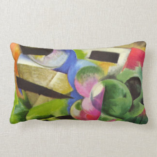House with Trees by Franz Marc, Vintage Fine Art Lumbar Pillow