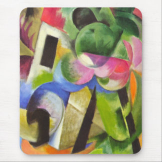 House with Trees by Franz Marc, Vintage Fine Art Mouse Pad