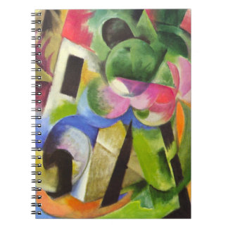 House with Trees by Franz Marc, Vintage Fine Art Spiral Notebook