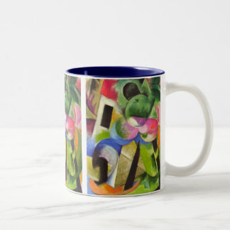 House with Trees by Franz Marc, Vintage Fine Art Two-Tone Coffee Mug