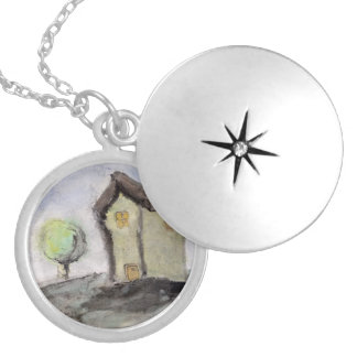 House with trees locket necklace
