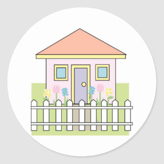 House with White Picket Fence Stickers