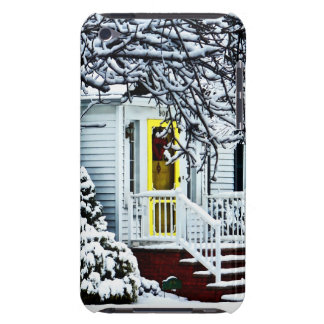House With Yellow Door in Winter iPod Touch Cover
