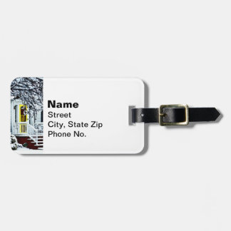 House With Yellow Door in Winter Luggage Tag