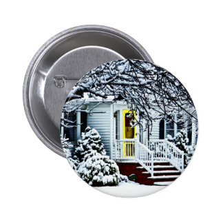 House With Yellow Door in Winter Pinback Button