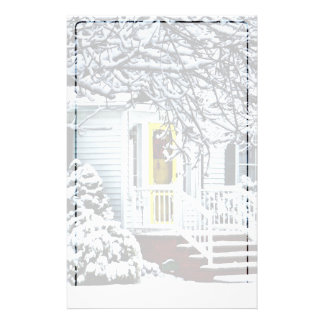 House With Yellow Door in Winter Stationery