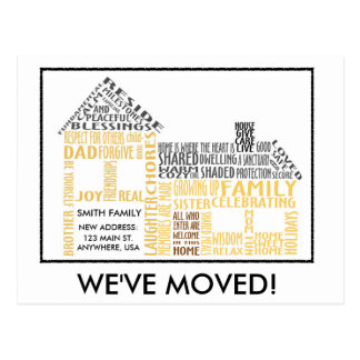 House Word Art, We've Moved Postcard