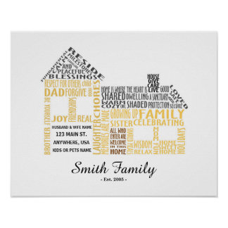 House Word Art with Family Name Poster
