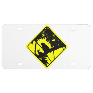 House Wren Bird Silhouette Caution Crossing Sign License Plate
