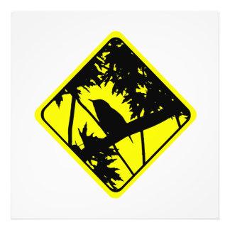 House Wren Bird Silhouette Caution Crossing Sign Photo Print