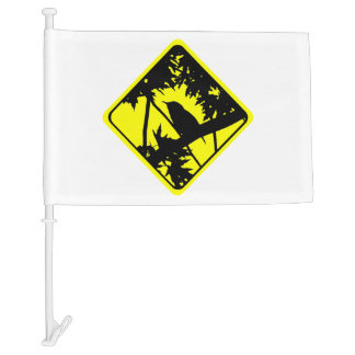 House Wren Bird Silhouette Caution Crossing Sign Car Flag