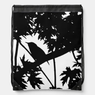 House Wren Silhouette Love Bird Watching Drawstring Backpack