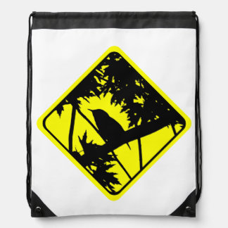 House Wren Warning Sign Love Bird Watching Drawstring Backpack