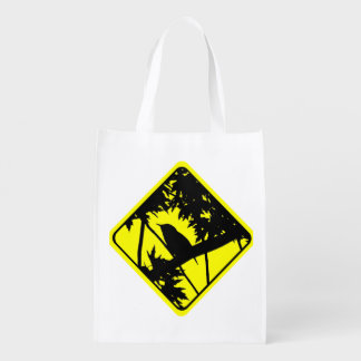 House Wren Warning Sign Love Bird Watching Reusable Grocery Bag