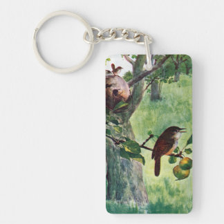 House Wrens Nesting in an Apple Tree Keychain