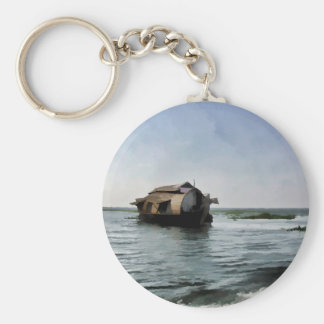 Houseboat in Kerala in saltwater lagoon Basic Round Button Keychain