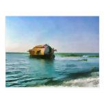 Houseboat in Kerala in saltwater lagoon Postcard