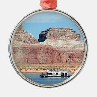 Houseboat, Lake Powell, Arizona, USA 6 Round Metal Christmas Ornament