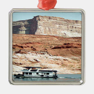 Houseboat, Lake Powell, Arizona, USA 7 Square Metal Christmas Ornament