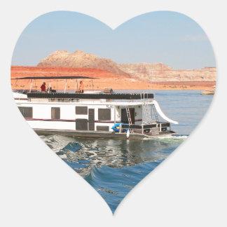 Houseboat making waves, Lake Powell, Arizona Heart Sticker