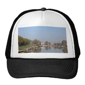 Houseboats on the shore of Dal Lake Mesh Hats