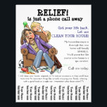 """Housecleaning flyer (fully customizable)<br><div class=""""desc"""">Perfect flyer to promote your new housecleaning business. It perfectly blends professional and friendly and memorable. It&#39;s thoroughly customizable - as show is just a suggestion - but a darn good one IMO! Features a hand drawn illustration of a clearly exhausted and frazzled working mom home from a long day...</div>"""