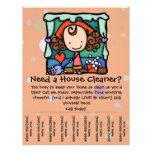 "Housecleaning. House Cleaner. Custom promotional 8.5"" X 11"" Flyer"