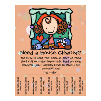 """Housecleaning. House Cleaner. Custom promotional 8.5"""" X 11"""" Flyer"""