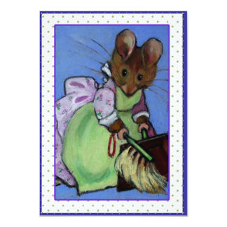 Housecleaning Mouse: Getting Ready For Party 4.5x6.25 Paper Invitation Card