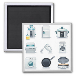 Household appliances icons (5) magnet