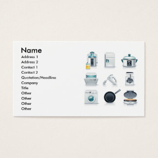 Household appliances icons (5), Name, Address 1... Business Card