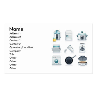 Household appliances icons (5), Name, Address 1... Business Card Templates