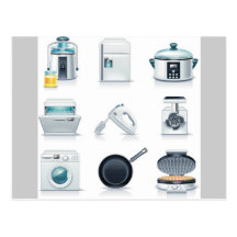 Household appliances icons (5) postcard