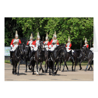 Household Cavalry mounted soldiers in London photo Card