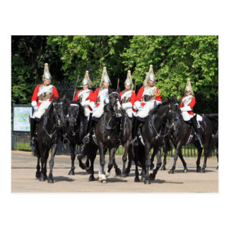 Household Cavalry mounted soldiers in London photo Postcard
