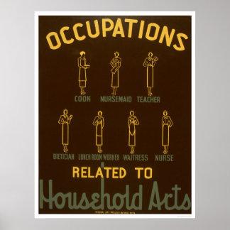 Household Occupations 1938 WPA Print