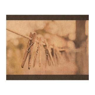 Household Themed, Vintage Line Up Wooden Clip Hang Cork Paper Prints