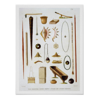 Household utensils and weapons from the Mariannas Poster