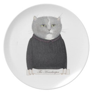 Housekeeper Cat Melamine Plate