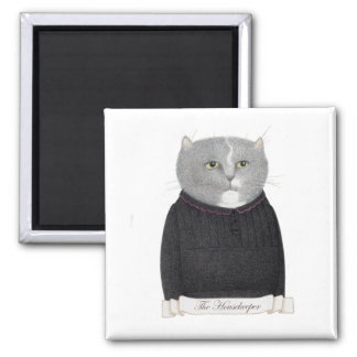 Housekeeper Cat Square Magnet