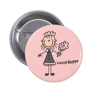 Housekeeper Stick Figure 2 Inch Round Button