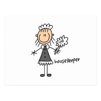 Housekeeper Stick Figure Post Card