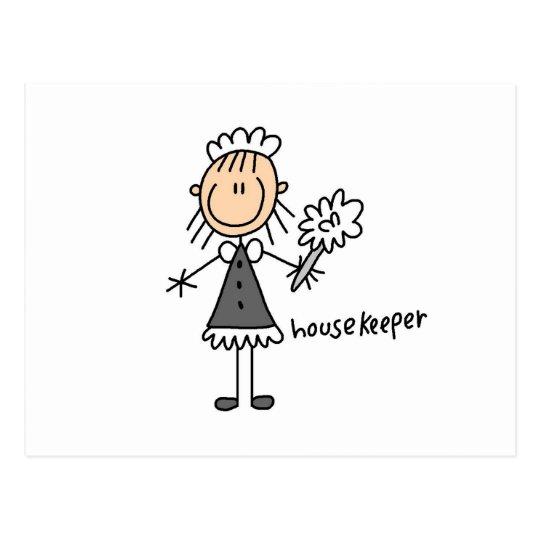Housekeeper Stick Figure Postcard