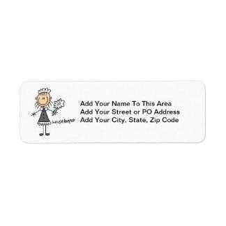 Housekeeper Stick Figure Return Address Label