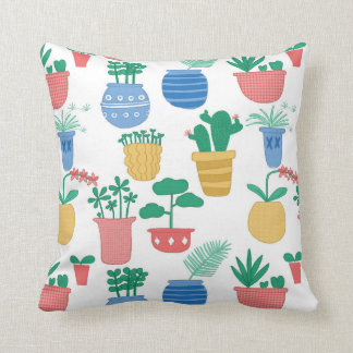 Houseplants and seedlings throw pillow